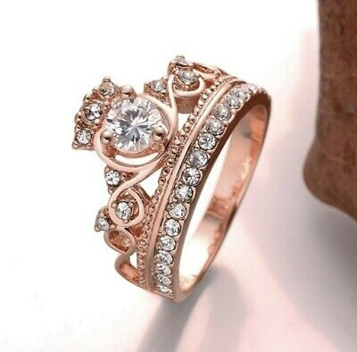 £8.99 • Buy Gift For Her 18K Rose Gold Plated Crown Ring Gorgeous Cubic Zirconia Love Gift