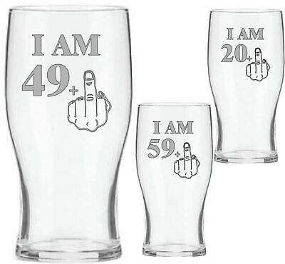 Engraved Beer Glass 40th 50th 60th 70th Birthday Gifts - Middle Finger - Funny • 9.99£