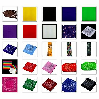 AU3.95 • Buy Bandana Head Wrap Scarf Square Bandanna Paisley Pain Colour Summer Biker Mask