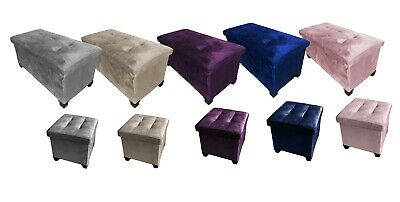 Velvet Folding Storage Ottoman Bench Footrest With Legs/Feet Easy To Assemble • 29.95£