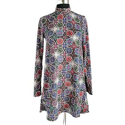 $25 • Buy Zara Trafaluc Dress Womens S Mock Neck Long Bell Sleeve Geometric Multicolor