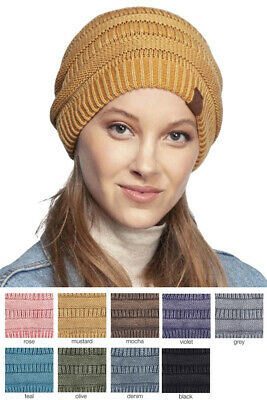 £13.80 • Buy ScarvesMe C.C Women's Cotton All Season Stone Washed Ribbed Warm Beanie Hat