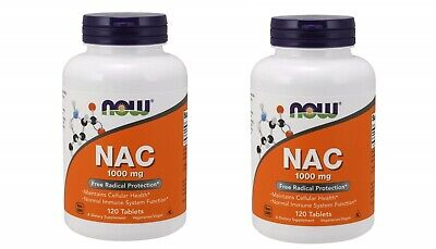 AU98.11 • Buy NOW Foods HIGH POTENCY NAC (N-Acetyl Cysteine) 1000mg 120 Tabs X 2-4 Bottles