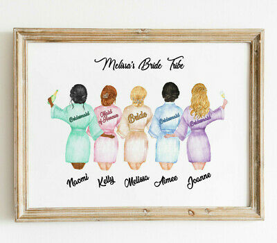 Personalised Hen Party Night Bride Tribe Wall/ Word Art Picture Keepsake Gift. • 3.99£