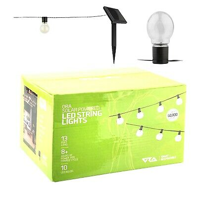 $9.99 • Buy ORA Solar Powered String Lights, 10 LED Clear Ball Waterproof Outdoor Lights,
