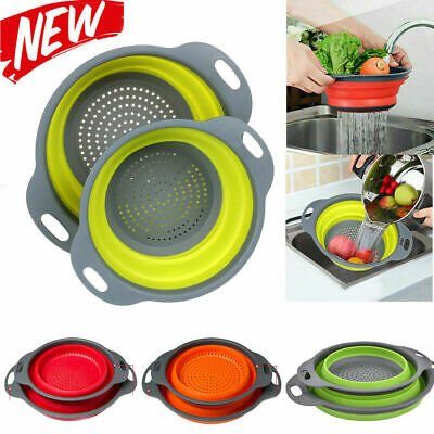Silicone Collapsible Colander Fruit Vegetable Strainer Basket Kitchen Tool UK • 4.99£