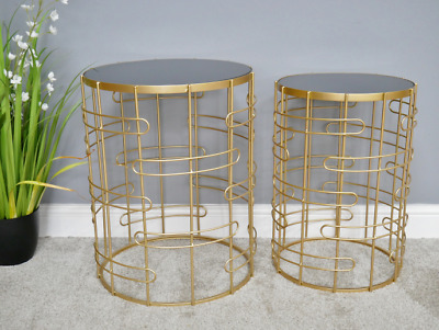 Set Of 2 Side/Coffe Tables Black Mirrored Top Metal Gold Finish Plant Stand New • 132.99£