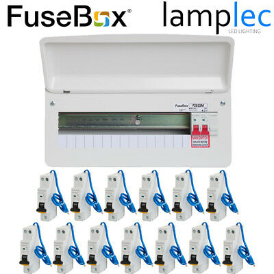 Fusebox 14 Way Metal Consumer Unit With 10 RCBOs 100A Main Switch RCBO Board • 155£
