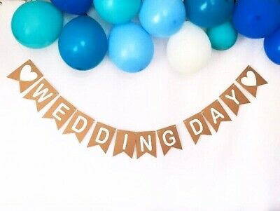 Wedding Day Kraft Card Bunting Banner Photo Props Rustic Wedding Signs Bunting • 7.50£