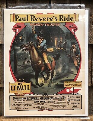 $125 • Buy RARE 1900 Chromolithograph Print E.T Paull Music Sheet Sample PAUL REVERE'S RIDE