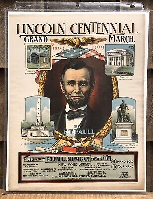 $125 • Buy RARE 1900 Chromolithograph Print E.T Paull Music Sheet Sample LINCOLN CENTENNIAL
