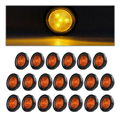 20x Amber Clearance LED 2.5  Round Truck Trailer RV Side Marker Light 4LED 12V • 65.69$