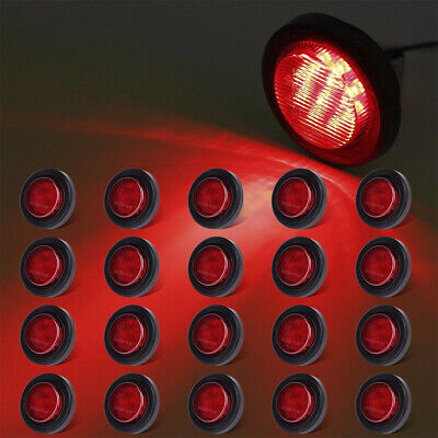 20x 2  Round LED Red Clearance Trailer Truck RV Side Marker Light W/grommets 12V • 77.55$