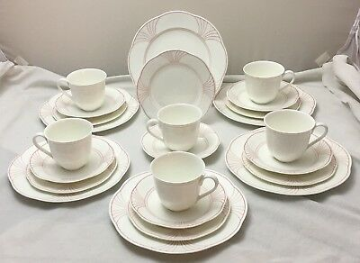 Villeroy & Boch Palatino 24 Piece Coffee Service Arco Weiss With Pink Rim NEW • 129.99£