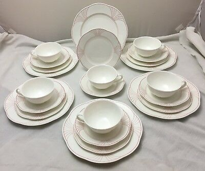 Villeroy & Boch Palatino 24 Piece Tea Service Arco Weiss With Pink Rim NEW • 129.99£