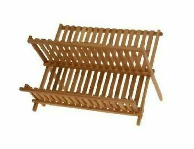 Wooden Plate Cups Drying Bamboo Overlap Rack Kitchen Sink Dish Drainer Folding • 14.99£