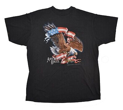 $ CDN99.97 • Buy American Biker Vintage T-Shirt - Size Large Black 3D Emblem 1992 Patriotic Eagle