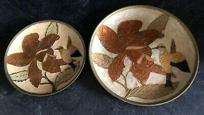 2 X Beautiful Vintage Indian Brass Enamel Hanging Wall Plates • 16.50£