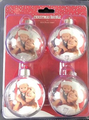 New Christmas Bauble Personalised Ball Photo Insert Create Your Tree Decoration • 9.99£