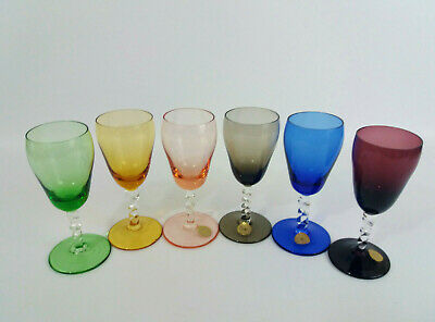 6 Vintage Harlequin Liqueur Sippers Aperitif Twisted Stem Small Retro Glasses • 21£