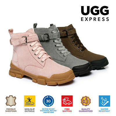 AU76 • Buy Ever UGG Ladies Leather Lace-up Boots Sarabi Sheepskin Lining&Insole Rubber Sole