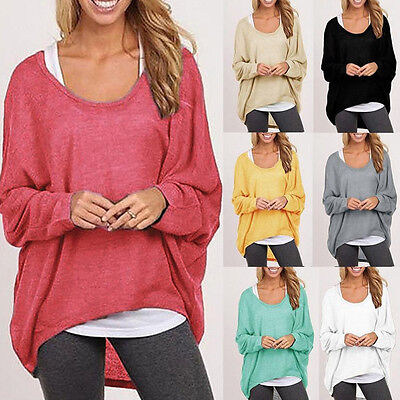 Womens Batwing Sleeve Jumper Sweater Ladies Casual Oversized Baggy Blouse Tops • 11.30£