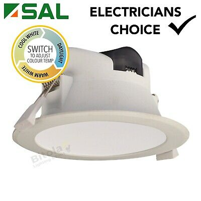 AU11.99 • Buy SAL WAVE S9065TC 9w LED DIMMABLE TRI-COLOUR CHANGING LED DOWNLIGHT IP44 - WHITE