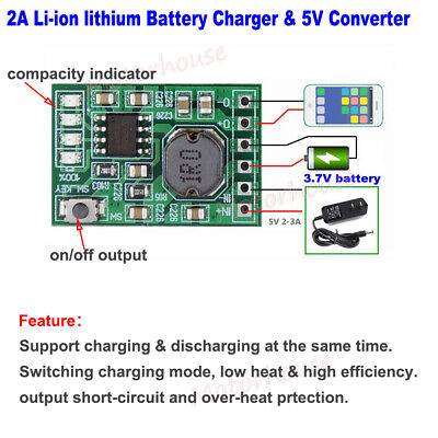 AU3 • Buy 2A Lithium Li-ion 18650 3.7V Battery Charger Module DC 5V Converter Power Supply