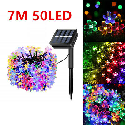 50 LED Solar Powered Fairy String Flower Lights Outdoor Garden Party Xmas Decor • 9.85£