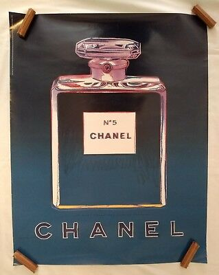 $324.99 • Buy Andy Warhol Chanel No 5 French Perfume Pop Art Vintage Poster 1997 22x28 Blue