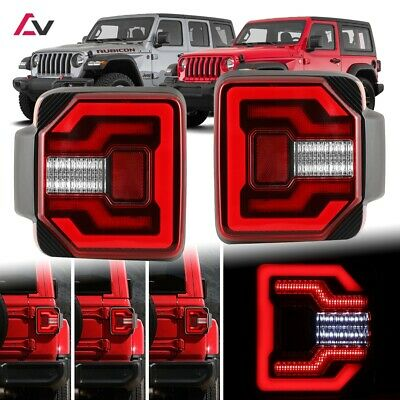 2018+ Jeep Wrangler JL JLU Sport Rubicon DRL LED Sequential Tail Lights Red • 285.19$