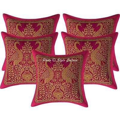 Traditional Cushion Covers 30x30 Cm Magenta Brocade Peacock Set Of 5 Pillowcases • 16.96£