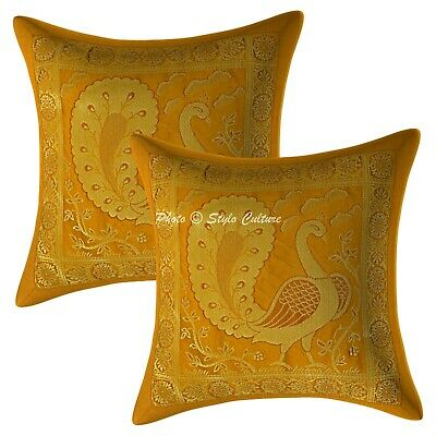 Decorative Cushion Covers 12 X 12 Peacock Brocade Scatter Pillowcase Set Of 2 • 10.96£