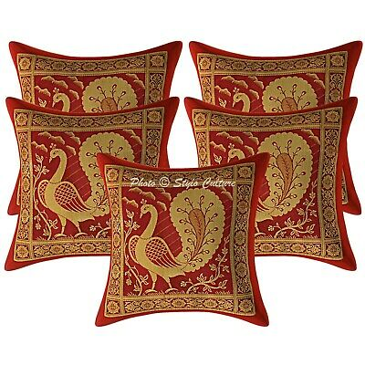 Traditional Cushion Covers 30x30 Cm Burgundy Brocade Dancing Peacock Set Of 5 • 16.96£
