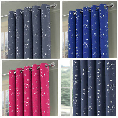 Stars Boys&Girls Bedroom Blackout Eyelet Ring Top Curtains (Pair Of) Ready Made • 18£