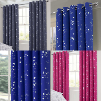 Stars Boys&Girls Bedroom Blackout Eyelet Ring Top Curtains (Pair Of) Ready Made • 20£