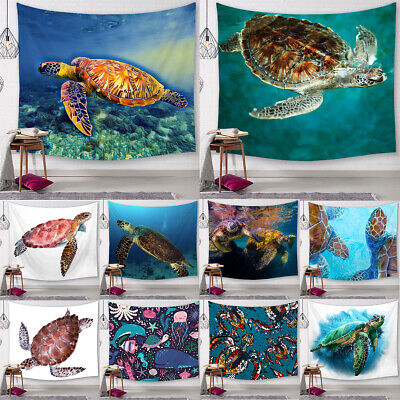 Nautical Sea Turtle Tapestry Living Room Bedroom Dorm Home Decor Wall Hanging • 9.86£