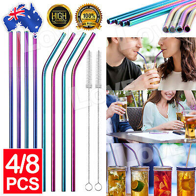 AU9.95 • Buy 8x Stainless Steel Straws Metal Drinking Straw Straight Bent Reusable + Brush