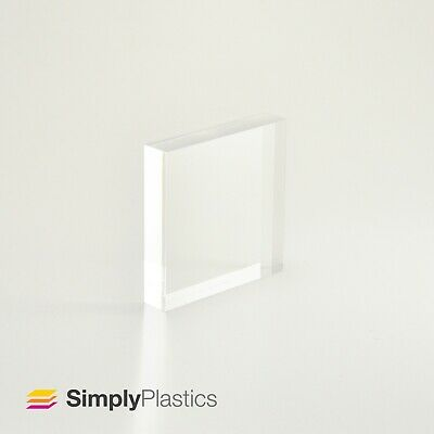 £4.58 • Buy Premium Polished Clear Cast Acrylic Perspex Plastic Block / Various Sizes
