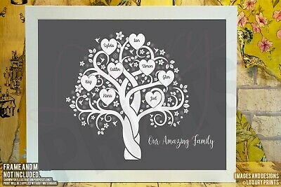 Personalised FAMILY TREE Word Picture Print Branch Canvas Hummingbirds Grey • 8.99£