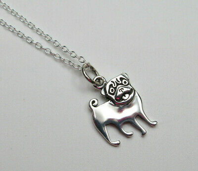 £23.96 • Buy Pug Dog Pendant Pet Animal Jewelry Dog Lovers Gift Necklace 925 Sterling Silver