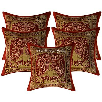 Indian Cushion Covers 30x30 Cm Red Brocade Dancing Peacock Pillowcases Set Of 5 • 16.96£
