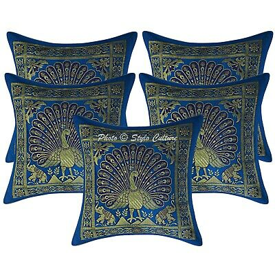 Decorative Cushion Covers 30x30 Cm Turquoise Brocade Dancing Peacock Set Of 5 • 16.96£
