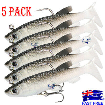 AU7.50 • Buy Soft Plastic Vibe Lures Poddy Mullet Flathead Jig Heads Barra Cod Fishing Tackle
