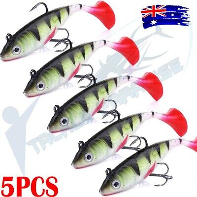 AU11.95 • Buy 5x 100mm Poddy Mullet Soft Plastic Vibe Flathead Fishing Lure Paddle Tail Redfin