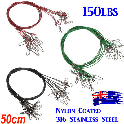 AU9.95 • Buy WIRE TRACE LEADER 50cm STAINLESS STEEL RATED 150LBS NYLON COATED FISHING TACKLE