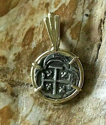 ATOCHA Coin Mini Pendant 14k Yellow Gold Treasure Shipwreck Jewelry • 75$