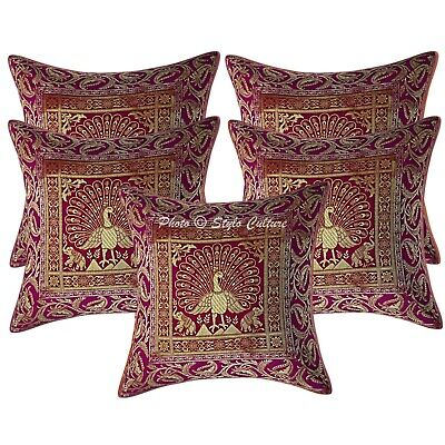 Indian Cushion Covers 16 X 16 Magenta Brocade Peacock Set Of 5 Boho Pillowcases • 18.96£