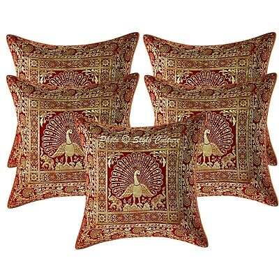 Bohemian Cushion Covers 16x16 Red Brocade Dancing Peacock Pillow Cases Set Of 5 • 18.96£