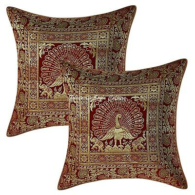 Traditional Cushion Covers 40 X 40 Cm Burgundy Brocade Dancing Peacock Set Of 2 • 11.96£